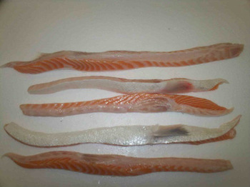 Frozen Salmon Bellies, BQF (blockfrozen), 1-3 cm, 3-5 cm, 30 kg branded carton boxes