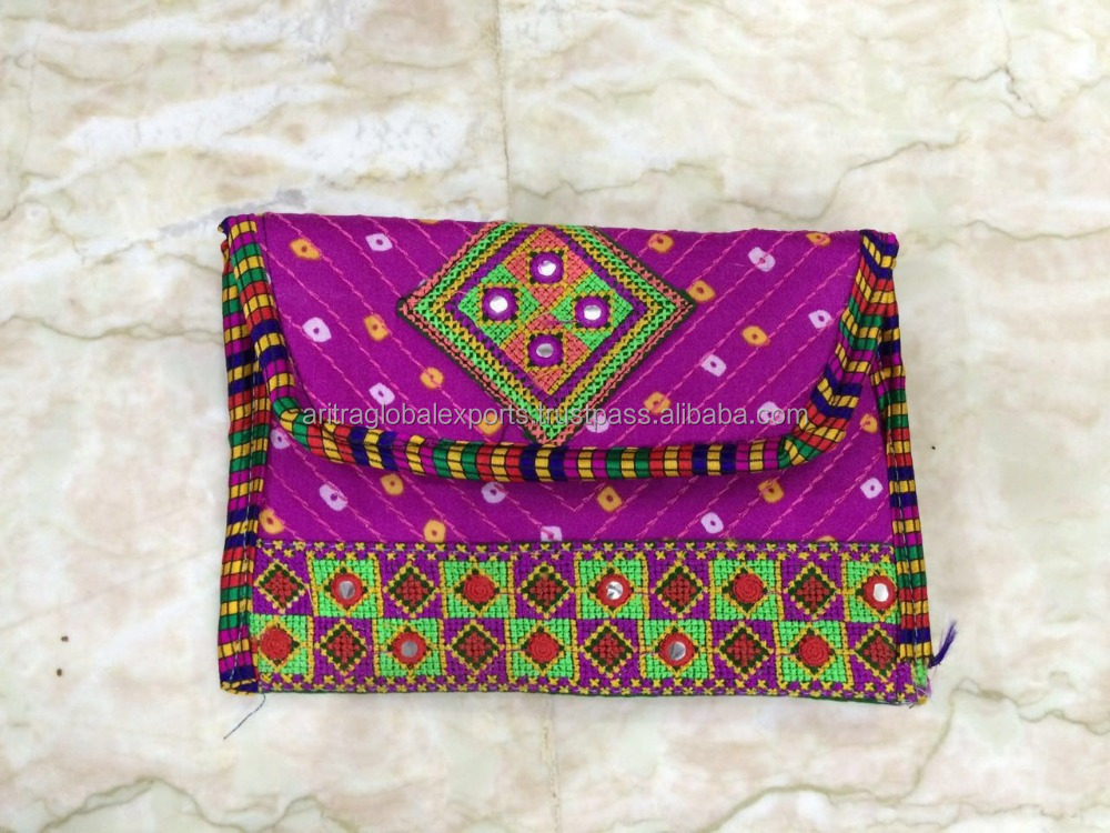 Multicolor Purse Indian Bag Wedding Clutch Fancy Embroidered Handbag