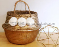 High quality best selling eco-friendly gold Sea Grass Basket with white pom pom from Vietnam