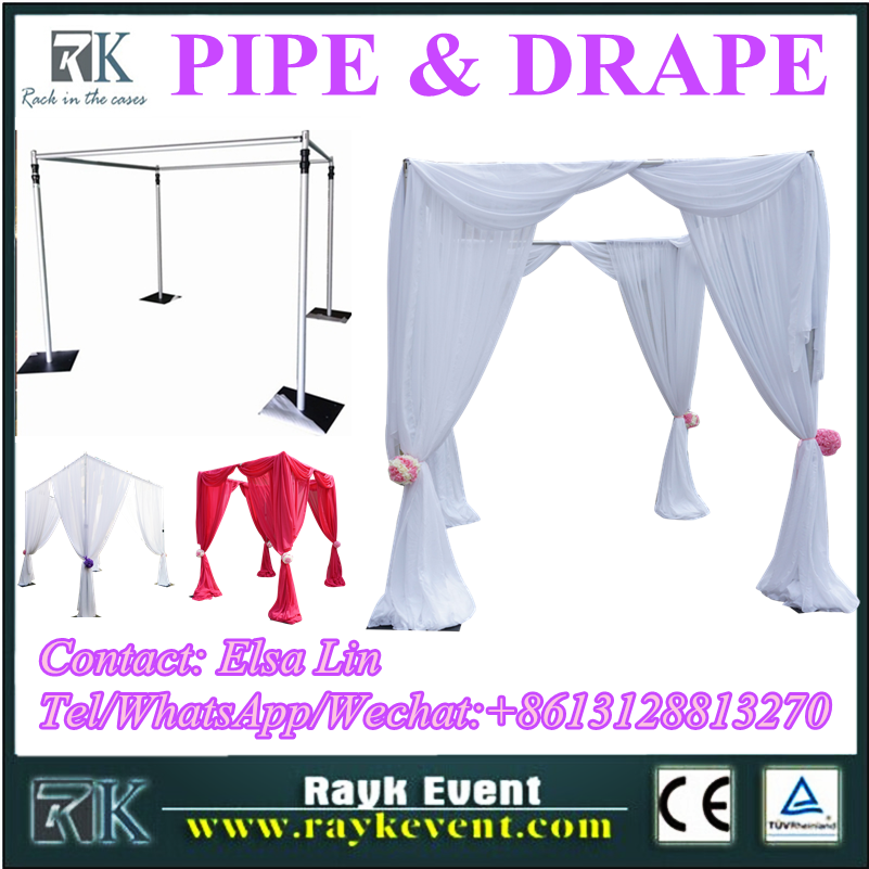 2016 wholesale pipe and drape used portable pipe and drape kits with chiffon cloth for sale