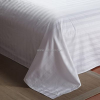 WEISDIN fashion design polyester cotton plain dyed 3cm stripe 330tc sateen bed sheet
