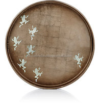 High quality best selling eco friendly Frog-Pattern Lacquered Round Tray from Viet Nam