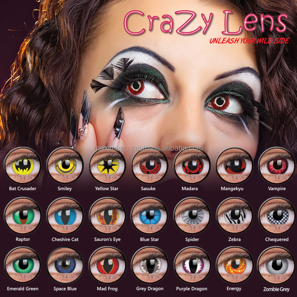 No.1 first leading Crazy Party Halloween Lenses worldwide by ColourVUE Certified by UK British Institute safe comfort & style