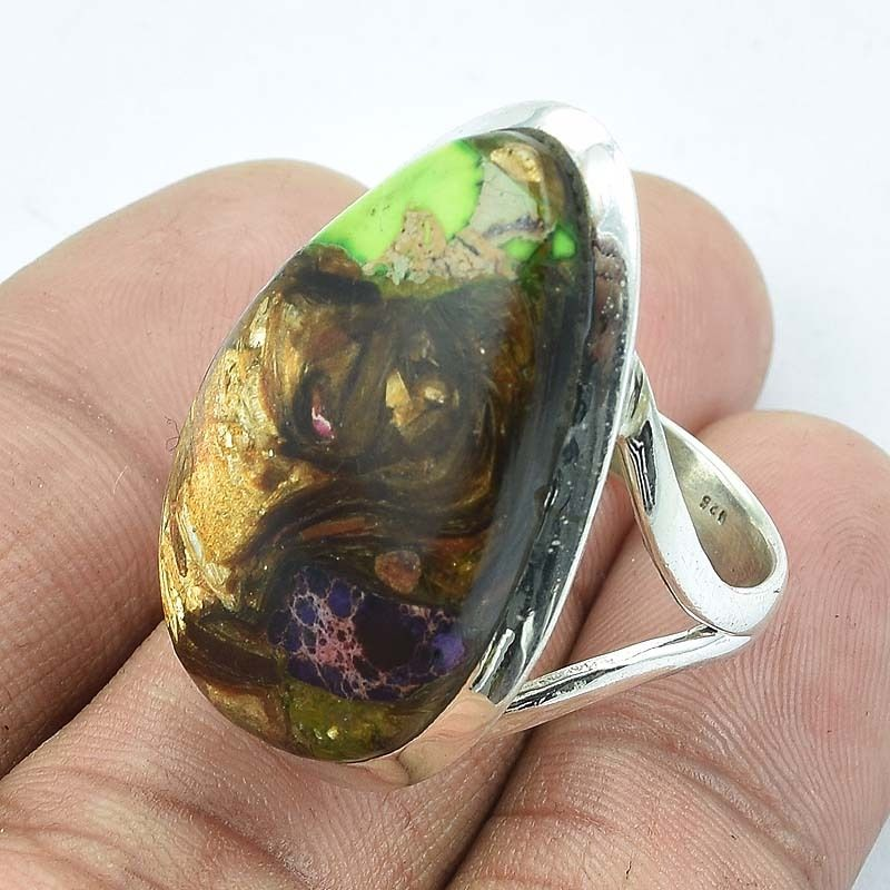 Solid 925 Sterling Silver Multi Copper Turquoise Gemstone Ring Jewellery