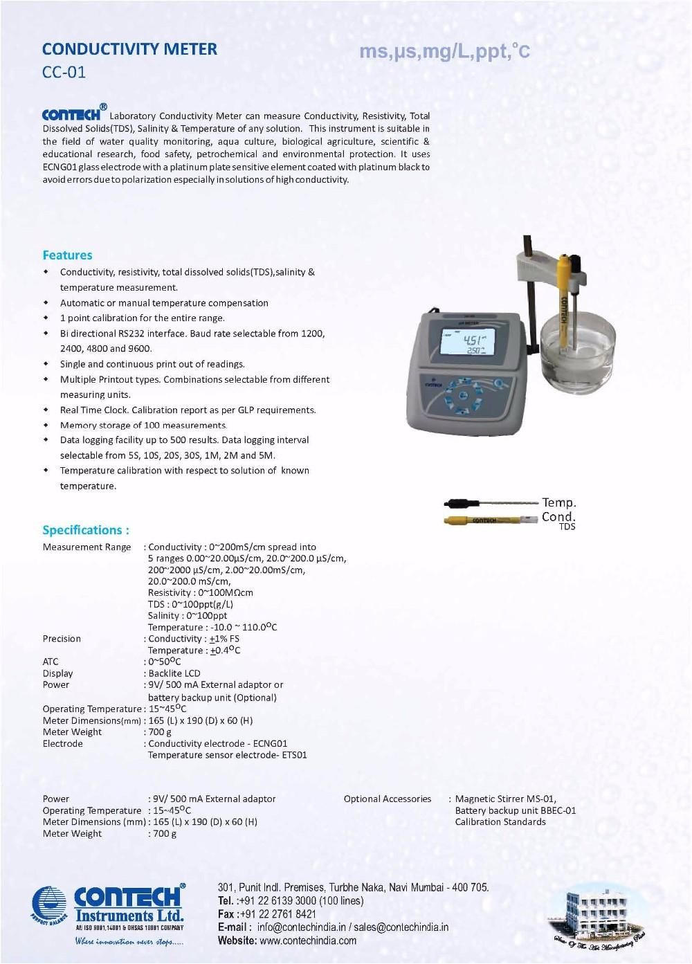 Conductivity Meter Cc 01 : Electrical conductivity meter buy