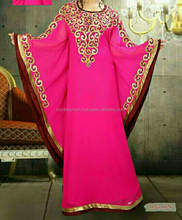 new arrival pink embroidery abaya . embroideried pink kaftan