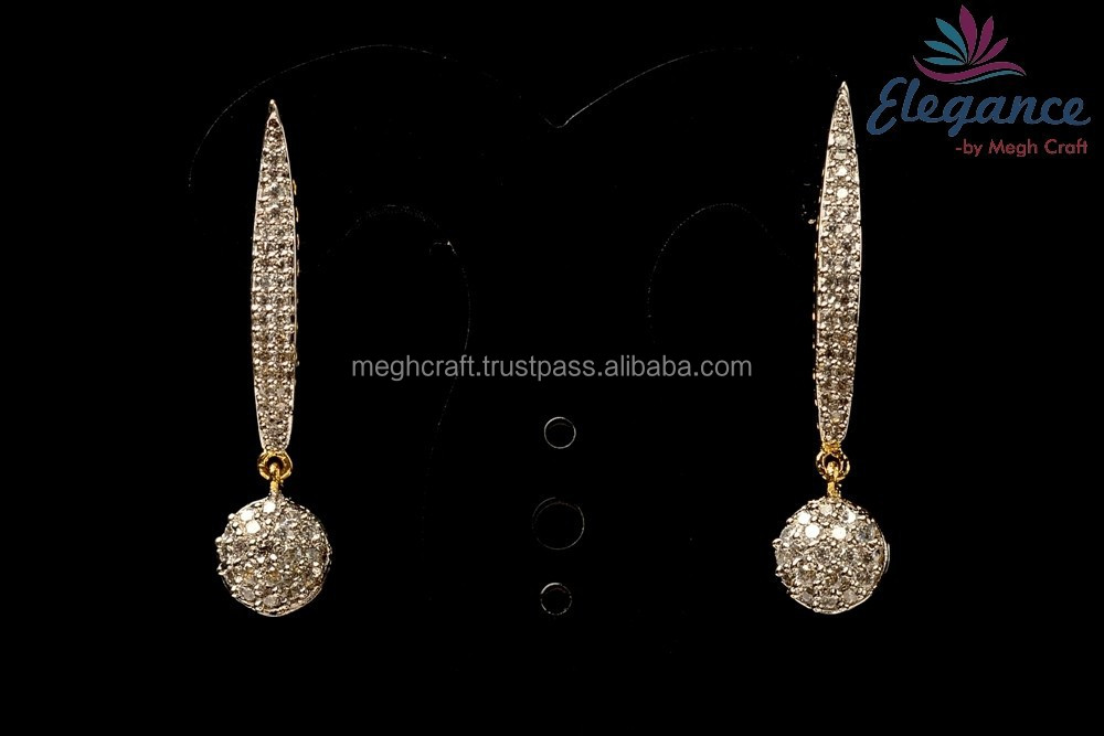 Indian american diamond dangle earring - Party wear cz earring - Wholsale earrings
