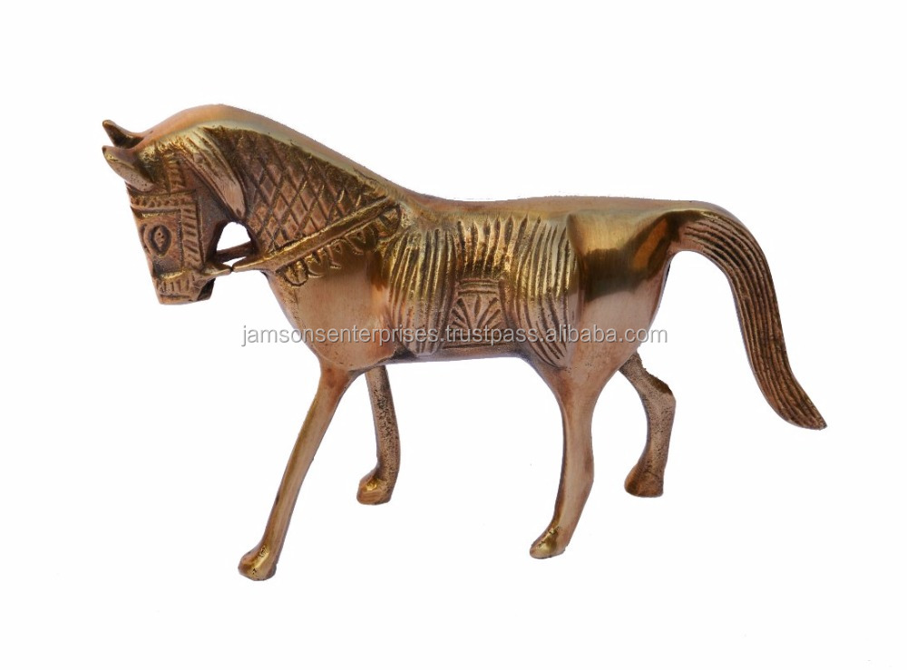 BRASS ANIMALS / BRASS HORSE STATUE / ANTIQUE BRASS STATUE