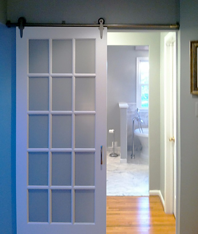 Modern Style Unfinished 15 Lite Glazed Interior Wood Barn Door Slab With Sliding Hardware View