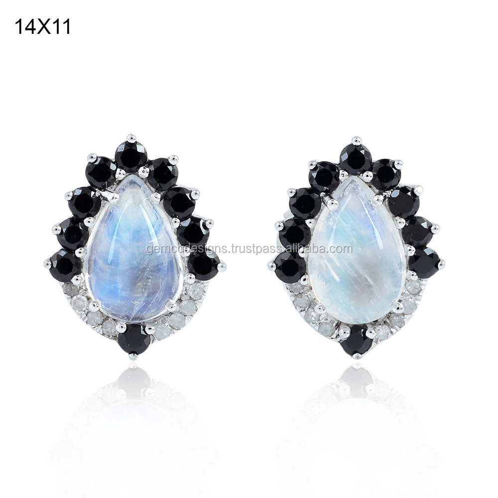 Moonstone Diamond Stud Earring, 18k White Gold Black Spinel Gemstone Stud Earring, 925 Silver Handmade Jewelry Supplier