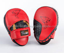 Leather Gel Curved Focus Mitts / Focus Pads /Kick Boxing MMA Strike Curved