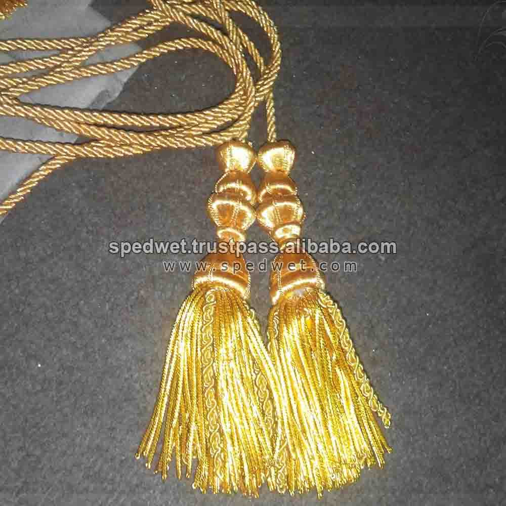 Bullion wire tassel with gold twisted cord decorative tassels metallic gold fringe