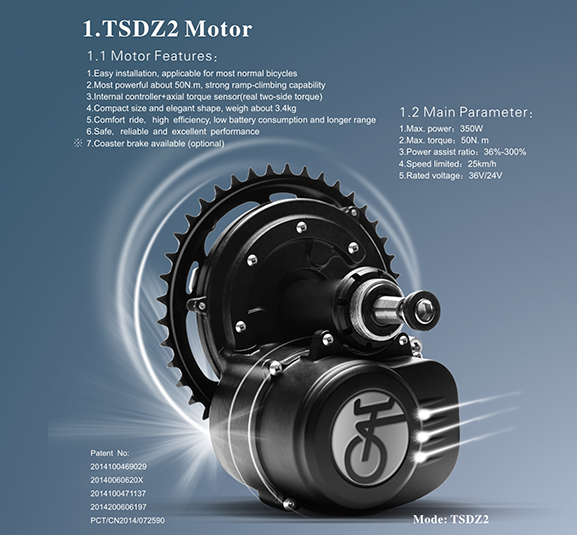CE Certified tsdz2 36v 250w mid drive motor e bike kit TSDZ2 with torque sensor and speed