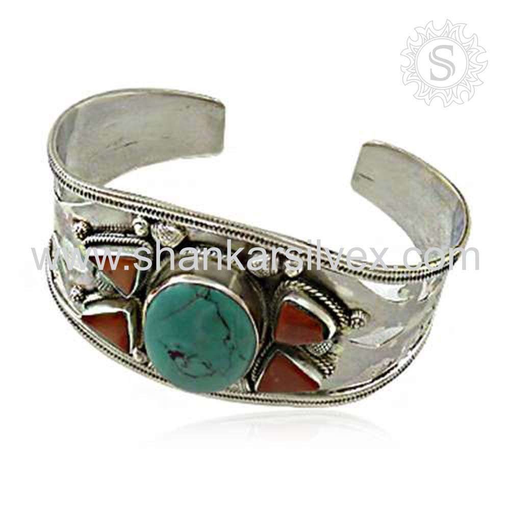 Famous Indian Jewelry Wholesale Gemstone Silver Coral Turquoise Bangle Handmade Silver Jewelry India