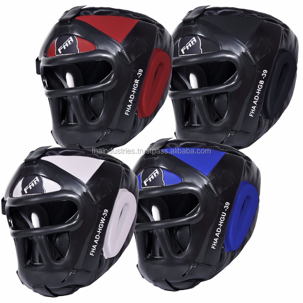 Martial Arts Head Guard With Plastic face mask Grill Protector Guard Wrestling Helmet Head Gear Taekwondo PU Extreme Sport