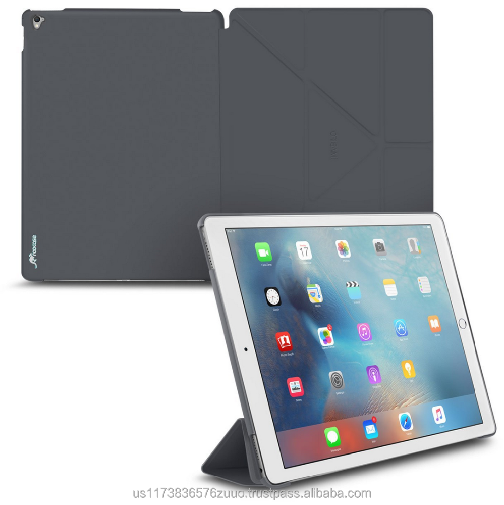 Ultra Slim Lightweight Smart Cover PC Shell PU Leather Folio Case Magnetic Auto Sleep Wake for iPad Pro 9.7 roocase (Gray)