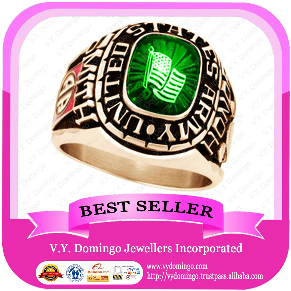 Wholesale 24kt Electroplated College Ring Customized Class Ring