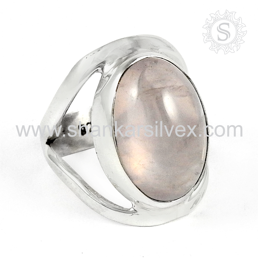 brighten Fashion Rose Quartz Ring Sterling Silver Jewelry Indian Silver Jewelry Exporter