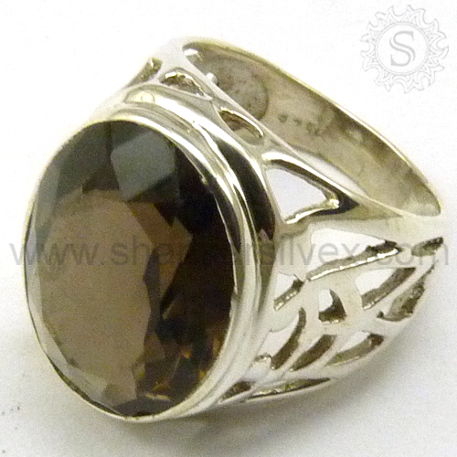 Antique Smoky Quartz Gemstone Silver Jewelry Ring Wholesale India RNCT2005-40