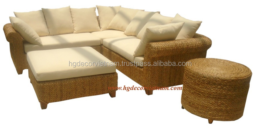 Natural rattan sofa for living room, water hyacinth corner sofa with acacia wood frame made in Vietnam