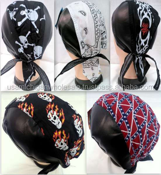Skull caps motorcycle hats fabric & leather assorted