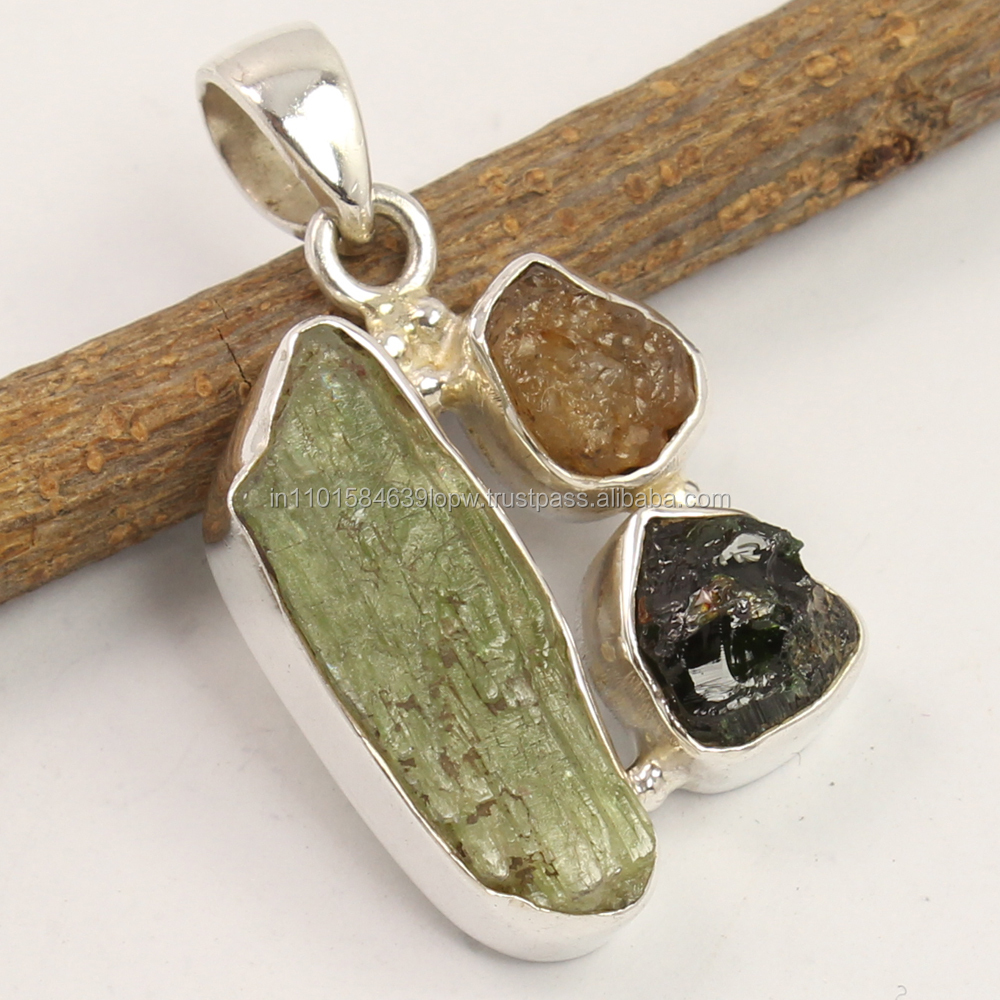 Natural GREEN KYANITE & Other Rough Gemstones 925 Sterling Silver Trendy Pendant