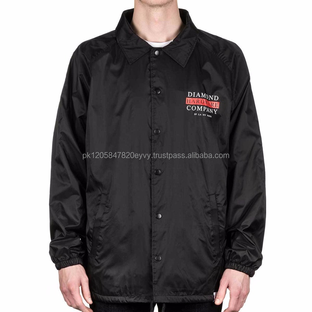 China manufacturer polyester tone red neck water proof print hot selling coaches jackets