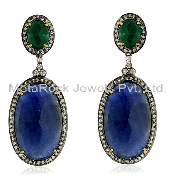 14k Yellow Gold Diamond Pave 925 Sterling Silver Emerald Oval Dangle Earrings Blue Sapphire Gemstone Jewelry