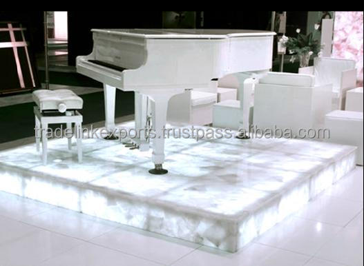 Crystal Quartz Backlit Gemstone Piano Stand High Quality Material