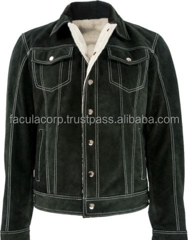 Suede Jeans style Leather jacket with Fur warm like Nubuck Leather padded FC-7978