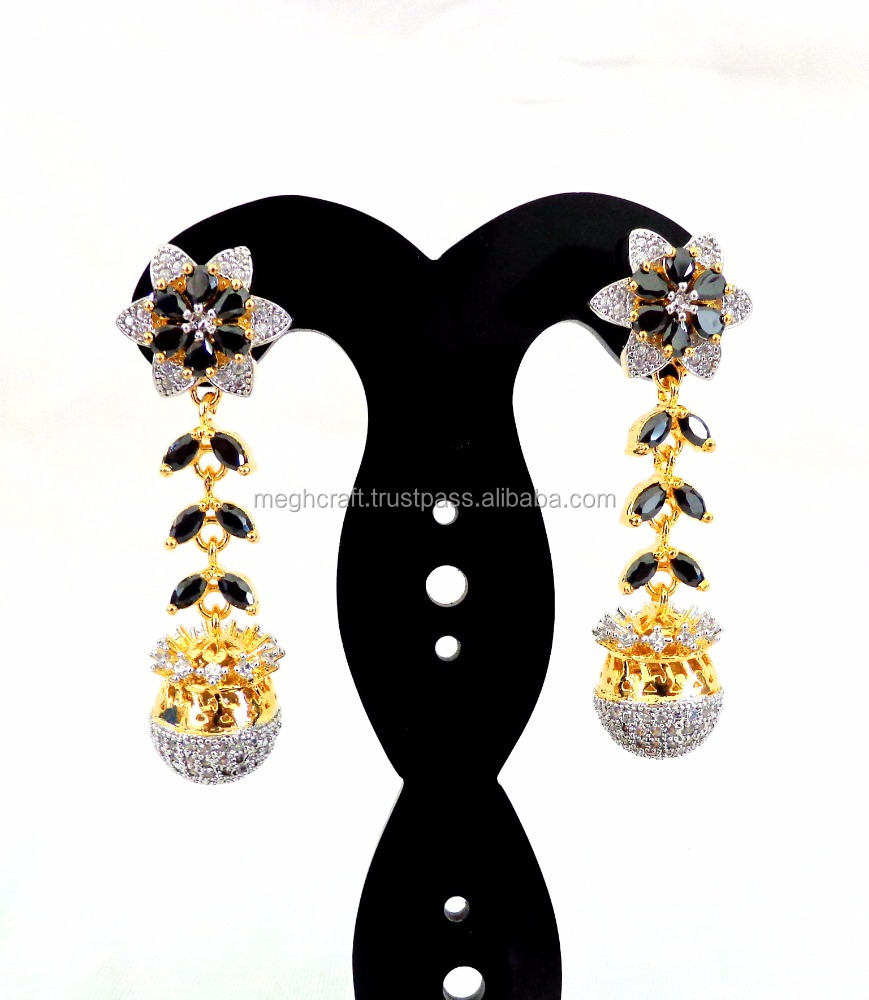 Traditional Bollywood Style Earring - CZ Earring - Party wear CZ Earring - American Diamond CZ Earring - Fashion Wear CZ Earring