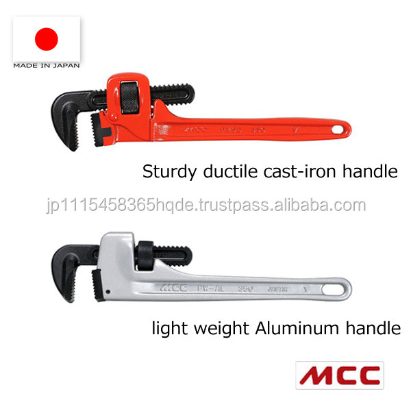 Durable and Easy to use adjustable pipe wrench with various sizes made in Japan