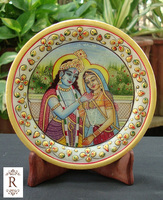 Indian Marble Thali Plate Krishna Handicraft Religious Gift Decor Hindu God Puja Miniature Painting Radha Krishna