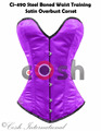 Overbust Purple Color Satin Steel Boned Waist Training Corsets Supplier, Regular, Curvy, Standard, Short Corsets Manufacturer