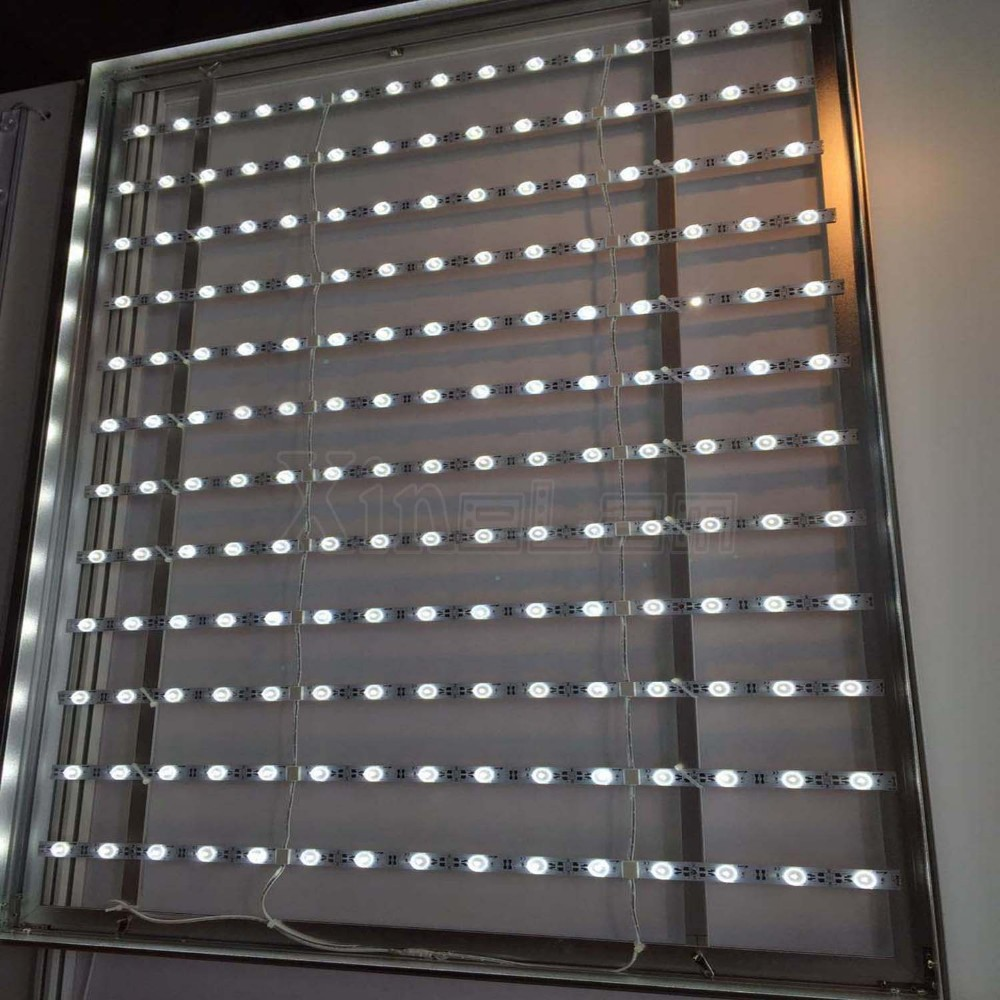 Lattice LED flexible sheet LED backlight strip with lens for large light box