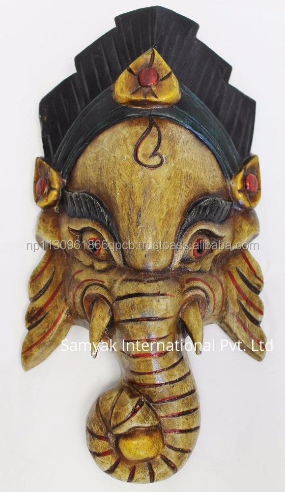 Hand Crafted Wooden Mask of Hindu Lord Ganesh