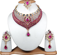 Indian Bollywood Fashion Jewelry Gold Plated Beautiful Necklace Set Magenta