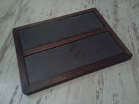 Natural black slate plate food serving plate wooden tray eco style