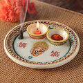 Handicraft Religious Gift Decor Art And Craft Gallery Hindu God Puja Ganesha Marble Pooja Thali Plate
