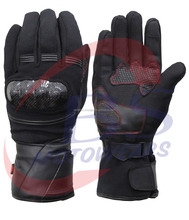 New Black Breathable Full Finger Motorcycle Leather Gloves