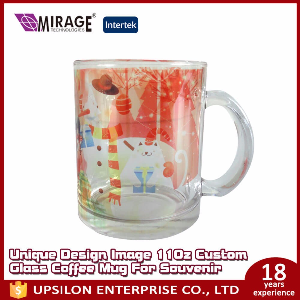 Unique Design Image 11Oz Custom Glass Coffee Mug For Souvenir
