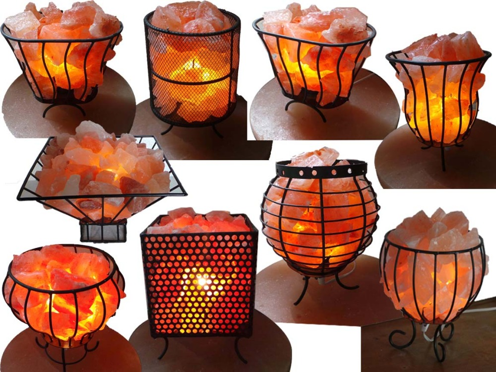himalayan rock salt lamps with wood base high quilty and pure salt(candle holder)