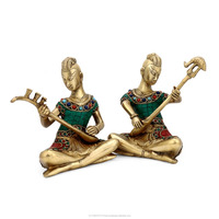 Musician Statue Coral Ethinic Tribal Musical Lady Brass Decor Figure Art Home Decor