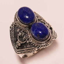 925 Sterling Silver Ring Jewelry, Victorian Style Lapis Gemstone Ring, Whoelsale indian artisan Jewelry