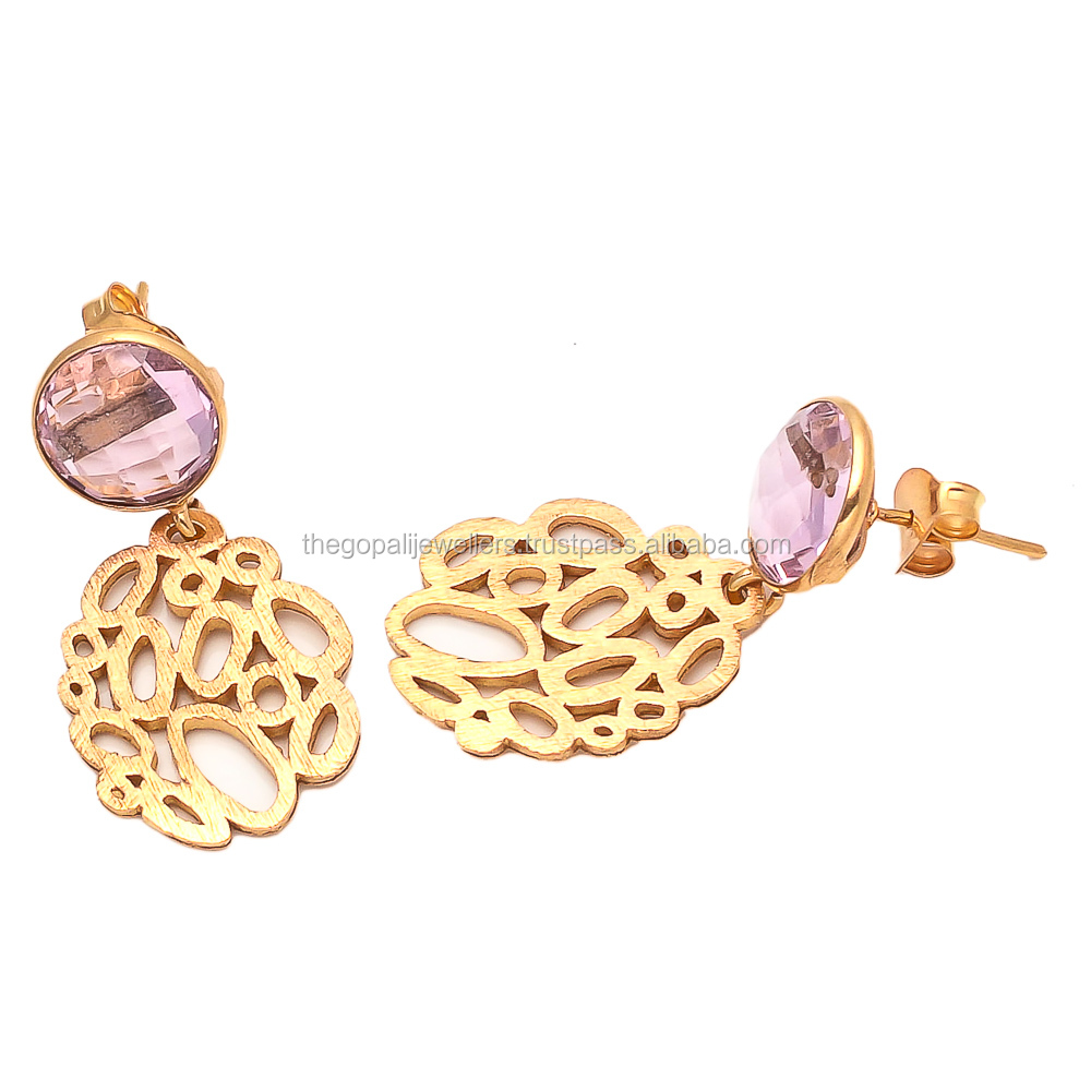 Hydro Pink Quartz Solid Earstud earring For womens Generation