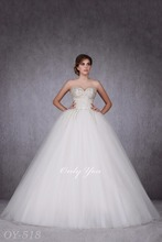 Fluffy Ball Gown Wedding Dress Heavily Beaded Corset Hand-made Sweathert Off-Shoulder Perfect Look Wonderful Tail