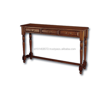 Unique Mahogany Hall Table Lamp Shade Legs with 3 Drawers Indoor Furniture Indonesia