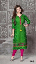 Pakistani green neck design long kurtis