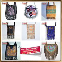 Suede leather fringe bag of Vietnam style handmade embroidery bag