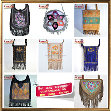 Suede leather fringe bags of Vietnam style handmade embroidery bag